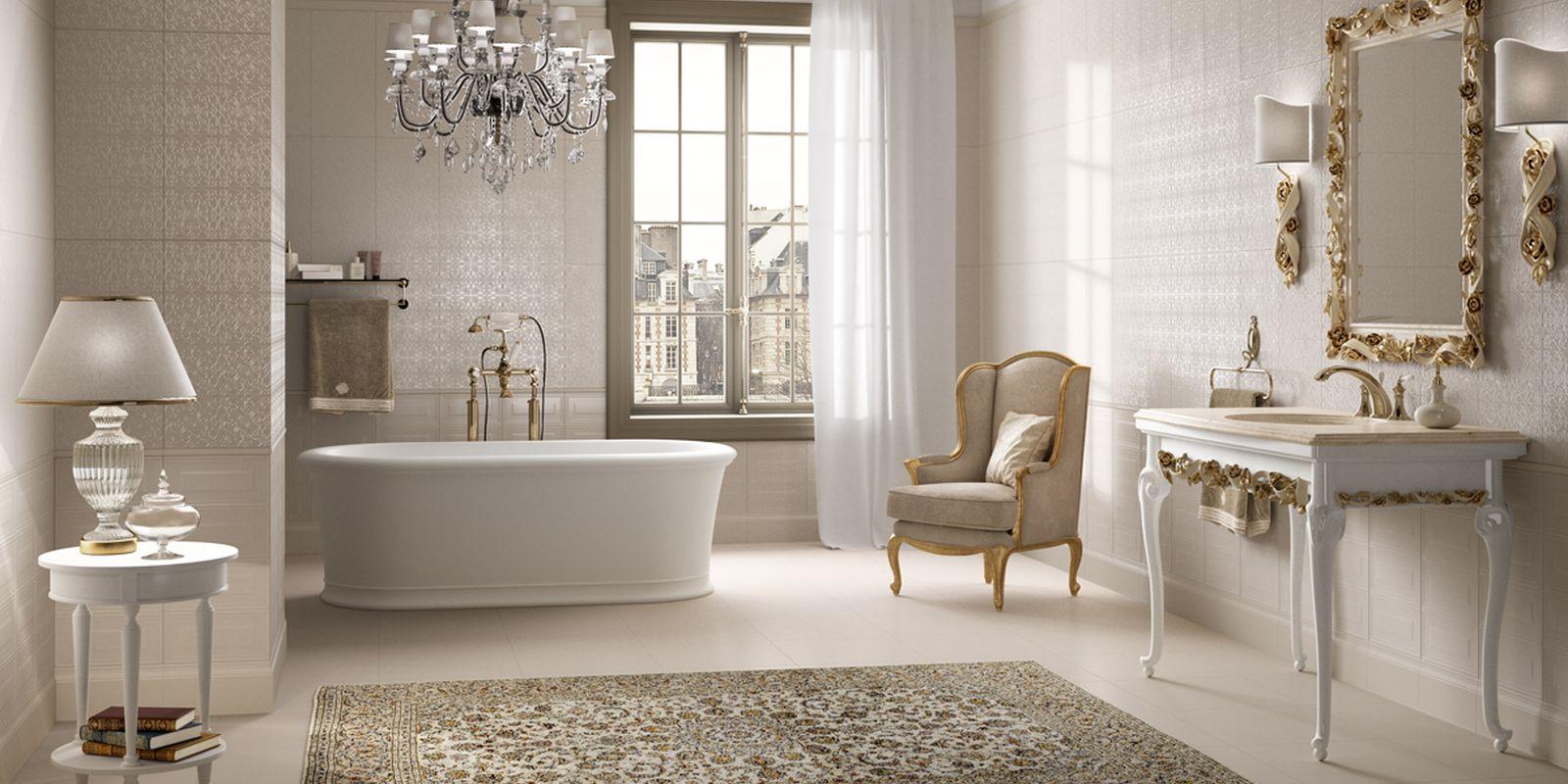 Piastrelle effetto tessuto per un bagno decor